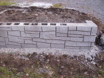 Masonry Block Wall with Shotcrete Rock Pattern